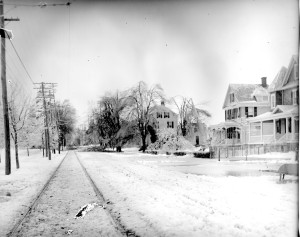 Photo taken on Main Street looking South following 1902 snowstorm.