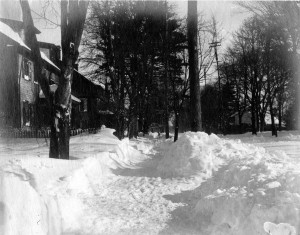 Undated early snowstorm photo in the village of Lawrenceville, c. 1900